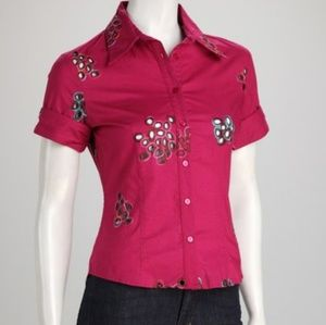 Samuel Dong Pink Button Front Shirt Top Cutouts